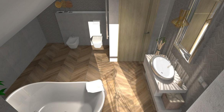 Łazienka z jesienną aurą